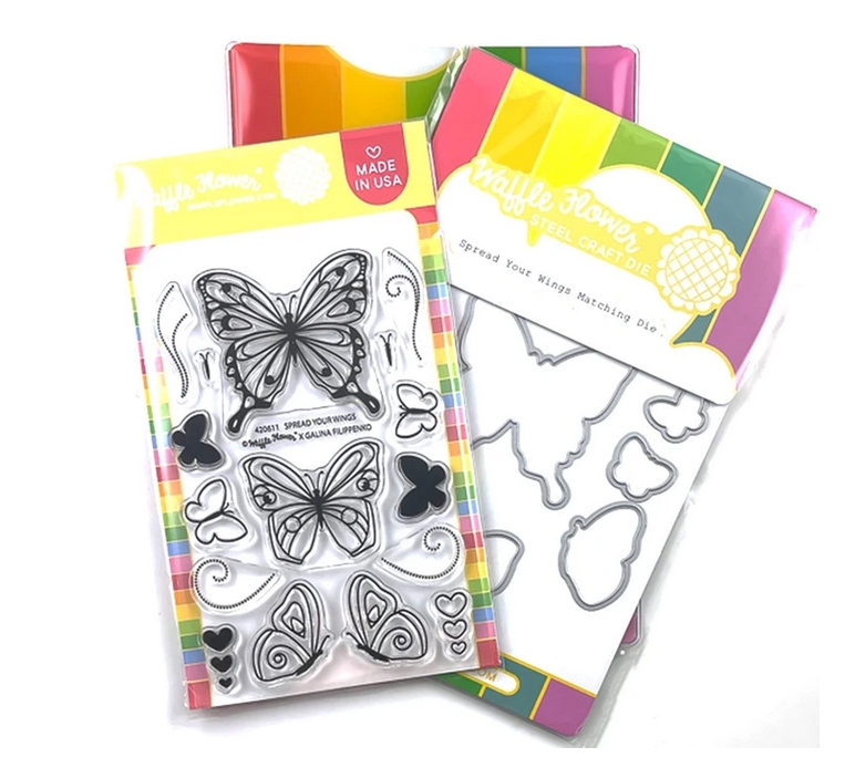 Waffle Flower SPREAD YOUR WINGS Clear Stamp and Die Combo WFC611 zoom image