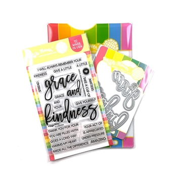 Waffle Flower OVERSIZED GRACE AND KINDNESS Clear Stamp and Die Combo WFC573