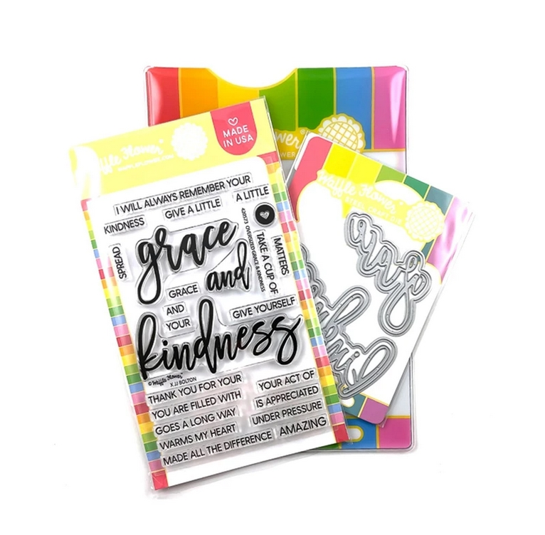 Waffle Flower OVERSIZED GRACE AND KINDNESS Clear Stamp and Die Combo WFC573 zoom image