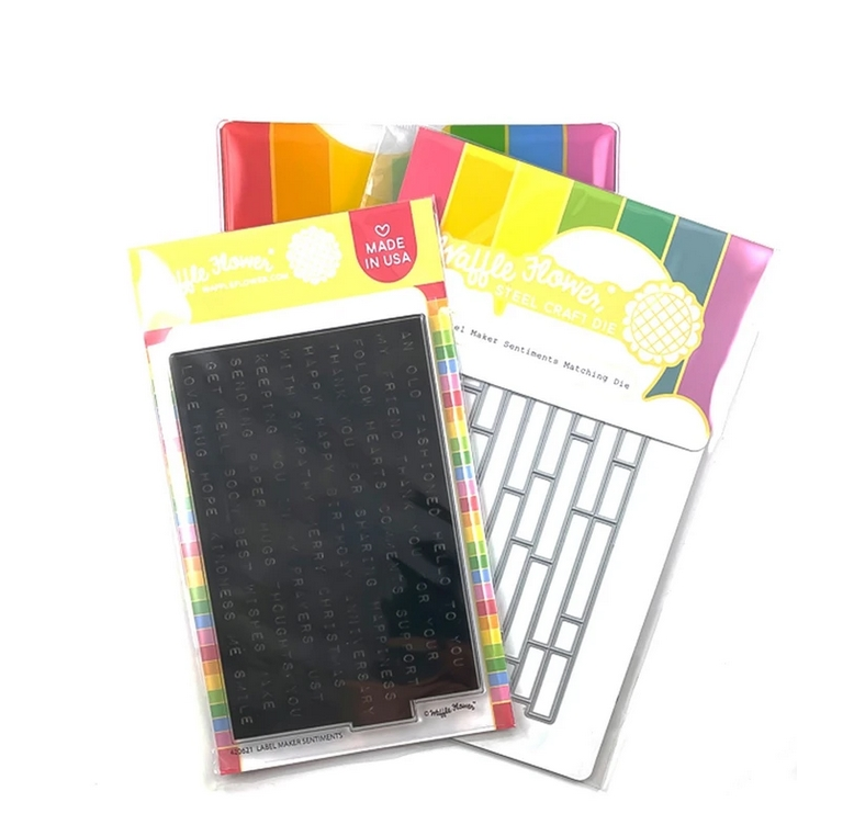 Waffle Flower LABEL MAKER SENTIMENTS Clear Stamp and Die Combo WFC621 zoom image