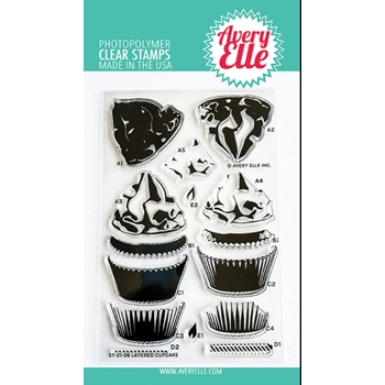 Avery Elle Clear Stamps LAYERED CUPCAKE ST 21 26
