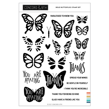 Concord & 9th BOLD BUTTERFLY Clear Stamp Set 11099
