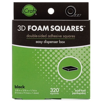 Therm O Web BLACK 3D FOAM SQUARES Adhesive Dispenser Box iCraft 3806