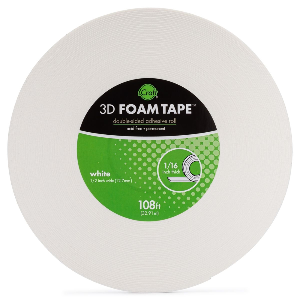 Therm O Web WHITE 3D FOAM TAPE JUMBO ROLL iCraft 5607 zoom image