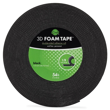 Therm O Web BLACK 3D FOAM TAPE JUMBO ROLL iCraft 5611