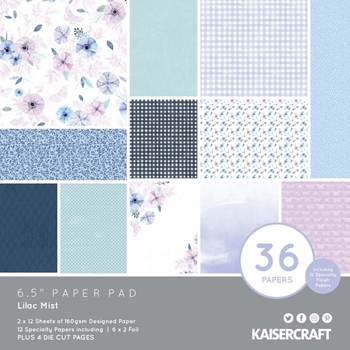 Kaisercraft LILAC MIST 6.5 x 6.5 Inch Paper Pad pp1093