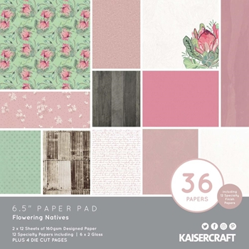 Kaisercraft FLOWERING NATIVES 6.5 x 6.5 Inch Paper Pad pp1094