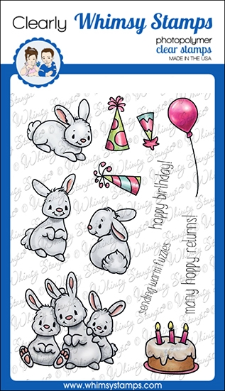 Whimsy Stamps BIRTHDAY BUNNY Clear Stamps C1267a zoom image