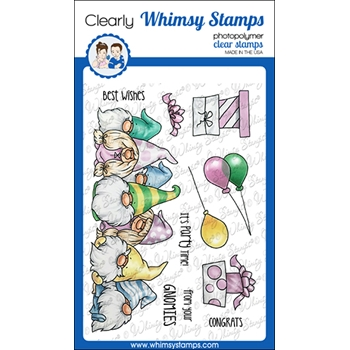 Whimsy Stamps GNOME PARTY ROW Clear Stamps C1265a