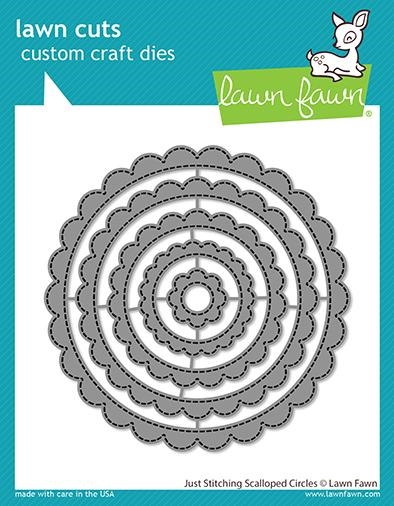 Lawn Fawn JUST STITCHING SCALLOPED CIRCLES Custom Craft Dies lf2571 zoom image