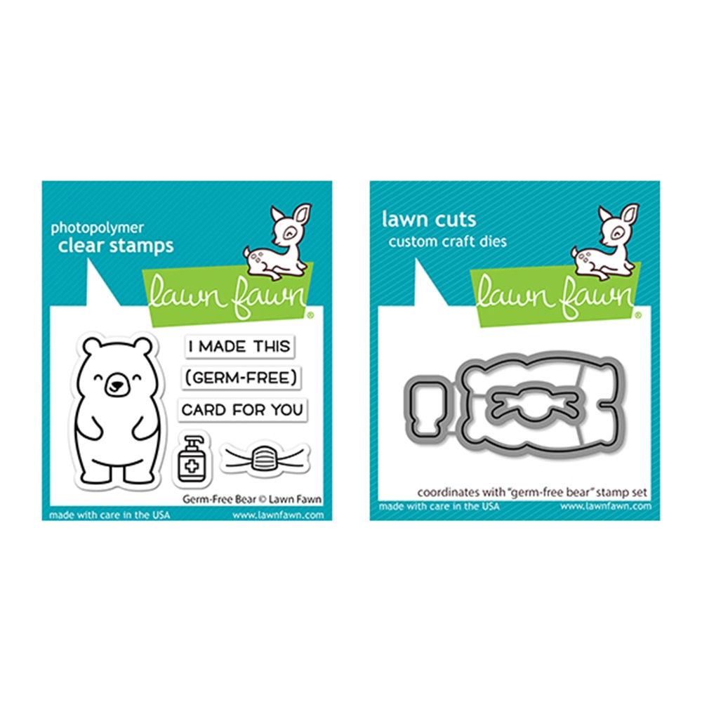 Lawn Fawn SET GERM-FREE BEAR Clear Stamps and Dies lfgfb zoom image