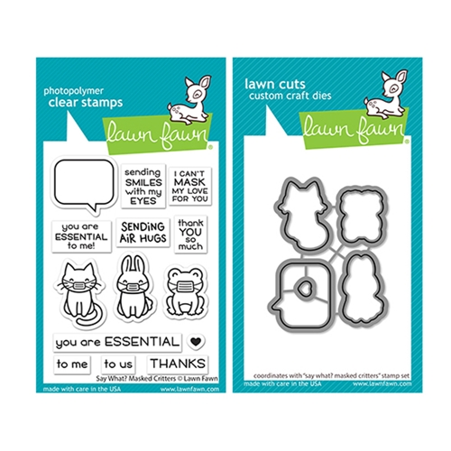 Lawn Fawn SET SAY WHAT MASKED CRITTERS Clear Stamps and Dies lfswmc Preview Image