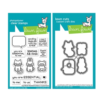 Lawn Fawn SET SAY WHAT MASKED CRITTERS Clear Stamps and Dies lfswmc