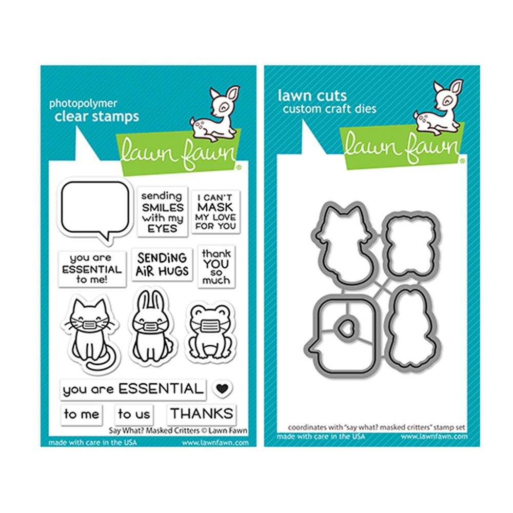 Lawn Fawn SET SAY WHAT MASKED CRITTERS Clear Stamps and Dies lfswmc zoom image