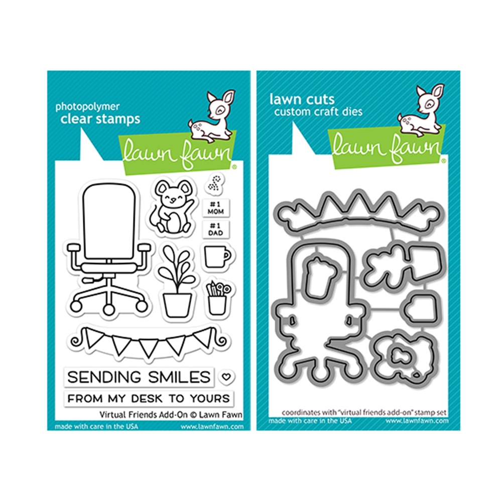 Lawn Fawn SET VIRTUAL FRIENDS ADD-ON Clear Stamps and Dies lfvfao zoom image