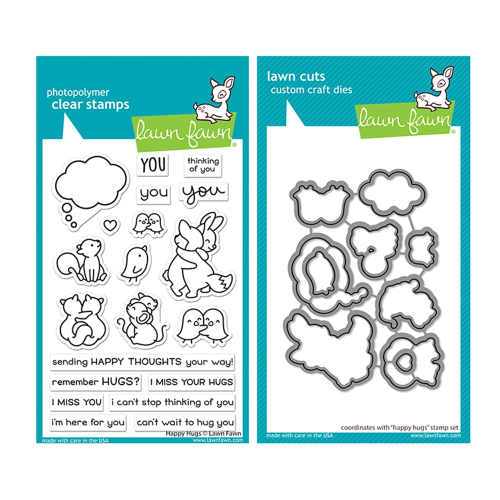 Lawn Fawn SET HAPPY HUGS Clear Stamps and Dies lfhah zoom image