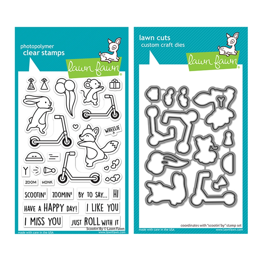Lawn Fawn SET SCOOTIN' BY Clear Stamps and Dies lfscb zoom image
