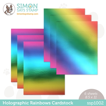 Simon Says Stamp Cardstock HOLOGRAPHIC RAINBOWS ssp1002
