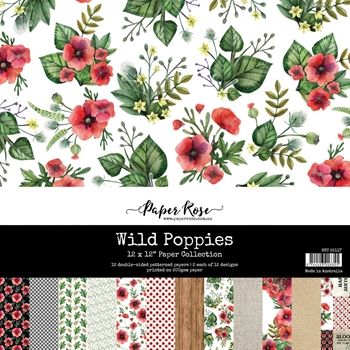 Paper Rose WILD POPPIES 12x12 Paper Pack 22117