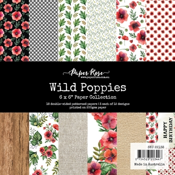 Paper Rose WILD POPPIES 6x6 Paper Pack 22138