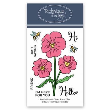Technique Tuesday PANSY FLOWER Clear Stamp Set gspan