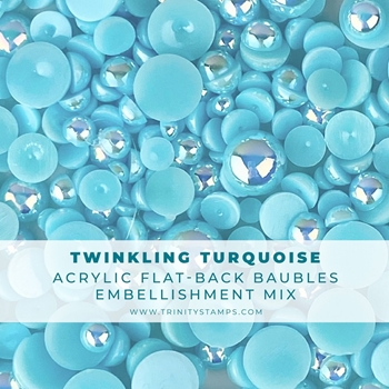 Trinity Stamps TWINKLING TURQUOISE BAUBLES Embellishments Box tsb154