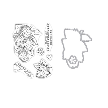 Hero Arts FLORALS STRAWBERRIES Clear Stamp and Die Combo sb277ha