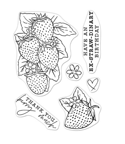 Hero Arts Clear Stamps FLORALS STRAWBERRIES LINE ART CM540 zoom image