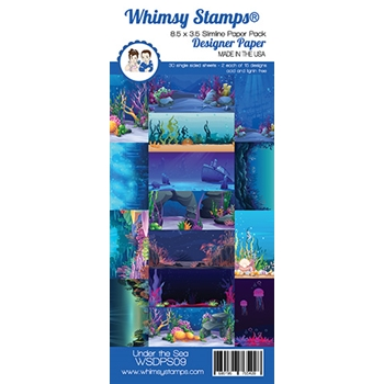 Whimsy Stamps SLIMLINE UNDER THE SEA 8.5 x 3.5 Paper Pack WSDPS09