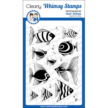 Whimsy Stamps FISH FANCY Clear Stamps CWSD269a