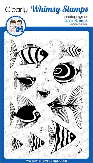 Whimsy Stamps FISH FANCY Clear Stamps CWSD269a zoom image
