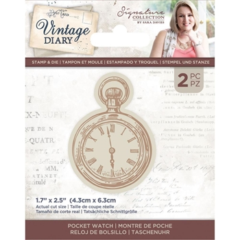 Crafter's Companion VINTAGE DIARY POCKET WATCH Stamp And Die Set svdstdpockw