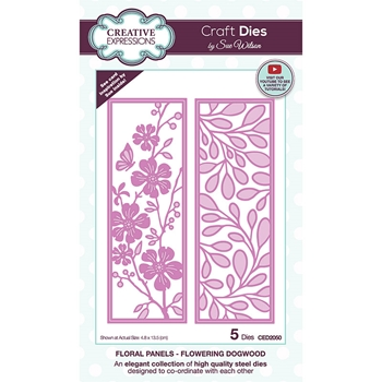 Creative Expressions FLORAL PANELS FLOWERING DOGWOOD Sue Wilson Dies ced2050