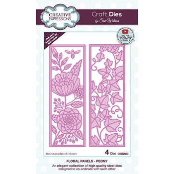 Creative Expressions FLORAL PANELS PEONY Sue Wilson Dies ced2053