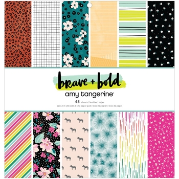 American Crafts Amy Tangerine BRAVE AND BOLD  12 x 12 Paper Pad 34002105