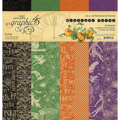 Graphic 45 MIDNIGHT TALES 12 x 12 Patterns And Solids Paper Pad 4502284 Preview Image
