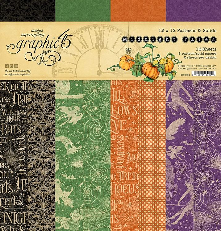 Graphic 45 MIDNIGHT TALES 12 x 12 Patterns And Solids Paper Pad 4502284 zoom image