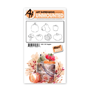 Art Impressions Watercolor VEGGIES Set Cling Cushion Stamps 5426