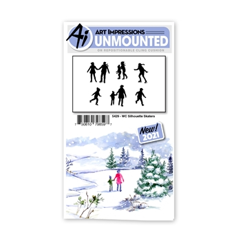 Art Impressions Watercolor SILHOUETTE SKATERS Set Cling Cushion Stamps 5429