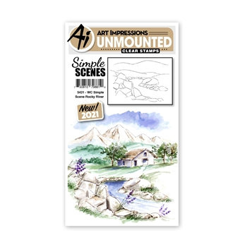 Art Impressions Watercolor SIMPLE SCENE ROCKY RIVER Clear Stamp 5431