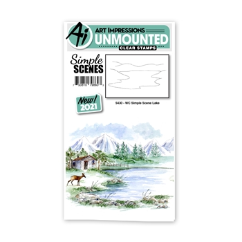 Art Impressions Watercolor SIMPLE SCENE LAKE Clear Stamp 5430