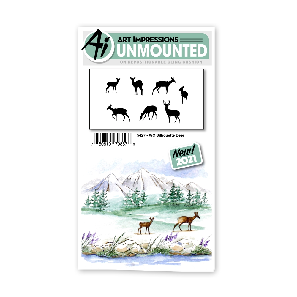 Art Impressions Watercolor SILHOUETTE DEER Set Cling Cushion Stamps 5427 zoom image