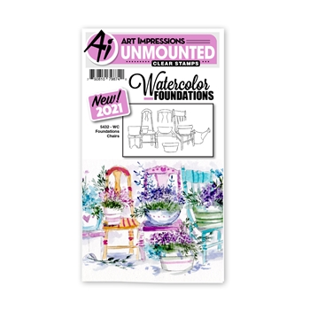 Art Impressions Watercolor Foundations CHAIRS Clear Stamp 5432