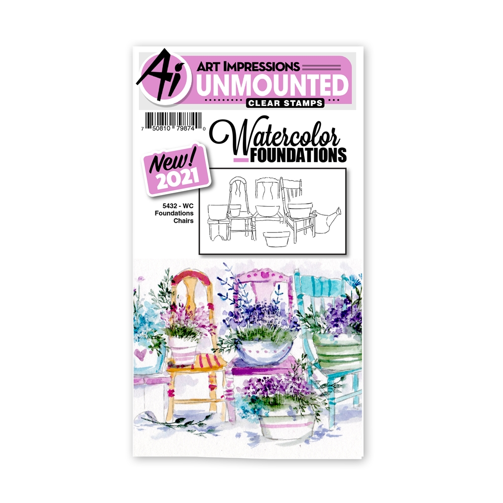 Art Impressions Watercolor Foundations CHAIRS Clear Stamp 5432 zoom image