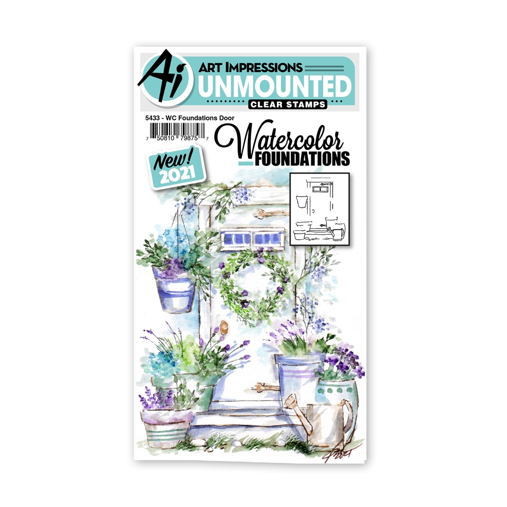 Art Impressions Watercolor Foundations DOOR Clear Stamp 5433 zoom image