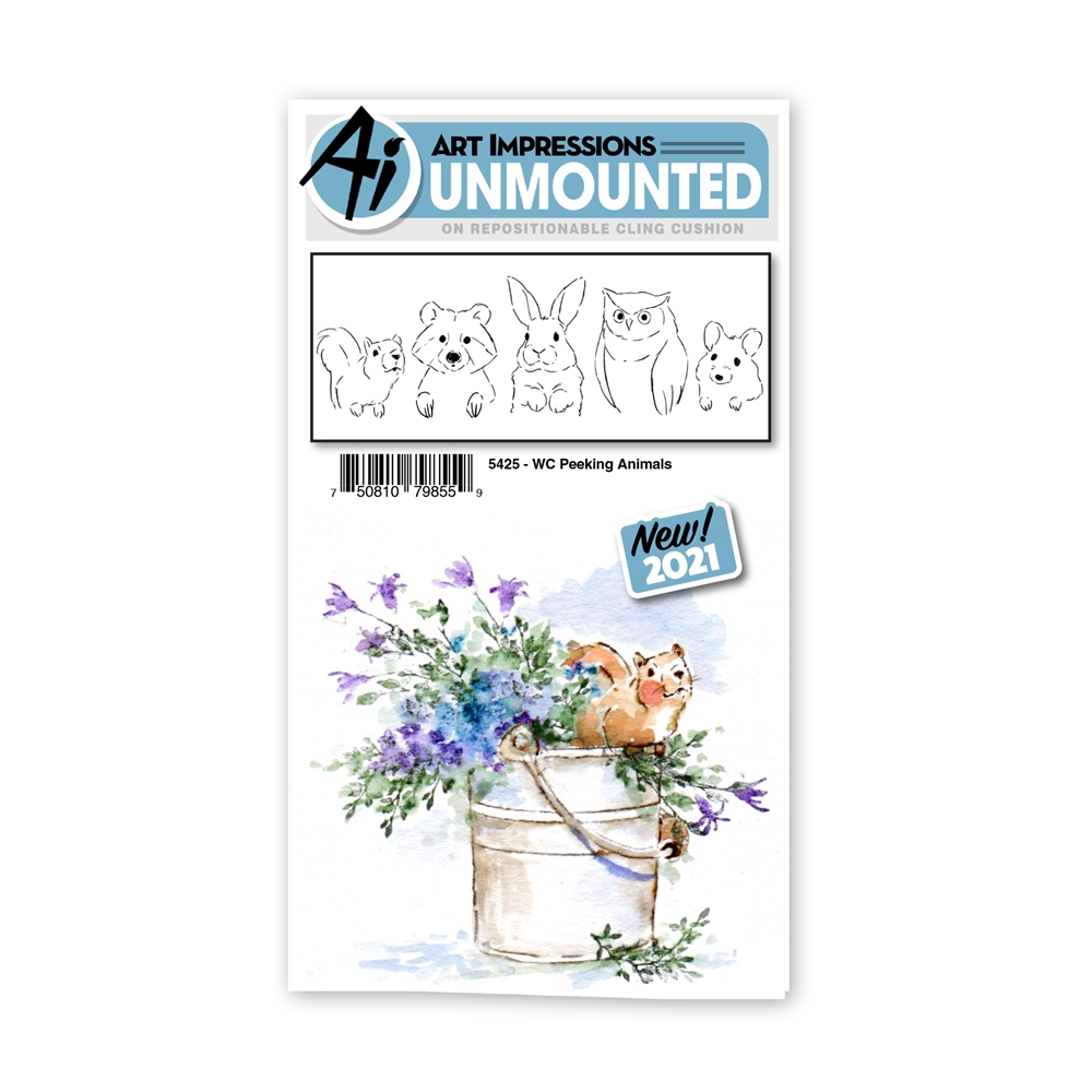 Art Impressions Watercolor PEEKING ANIMALS Set Cling Cushion Stamps 5425 zoom image