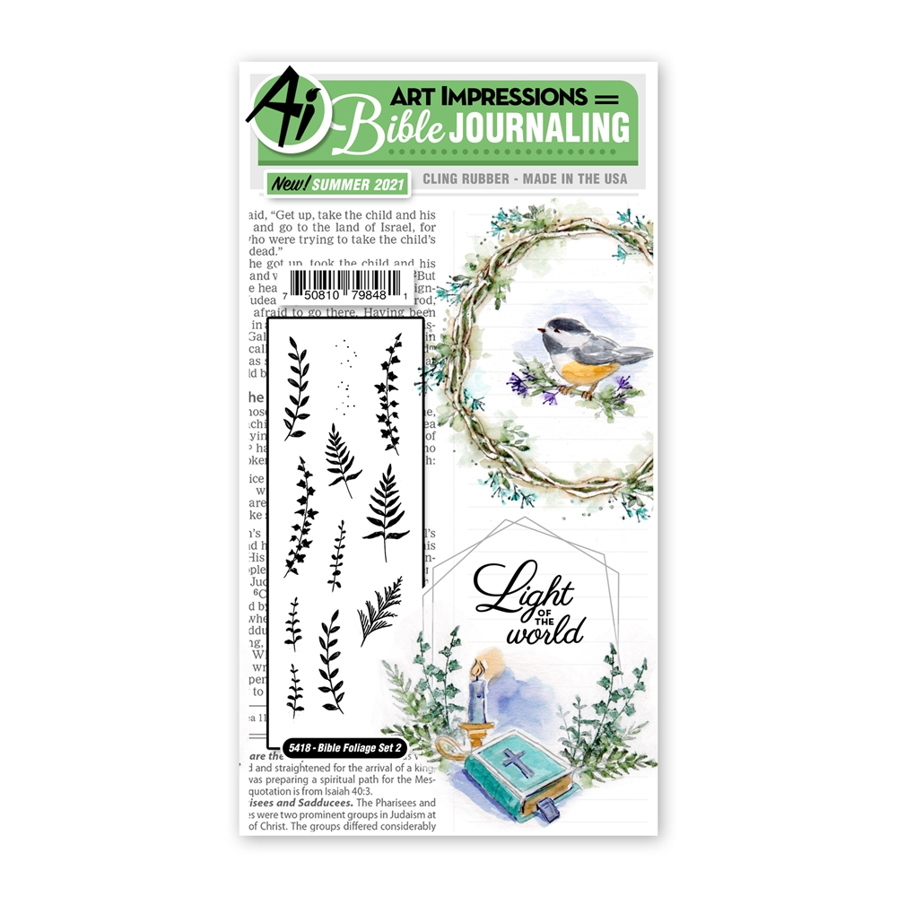 Art Impressions Watercolor BIBLE FOLIAGE SET 2 Cling Cushion Stamps Journaling 5418 zoom image