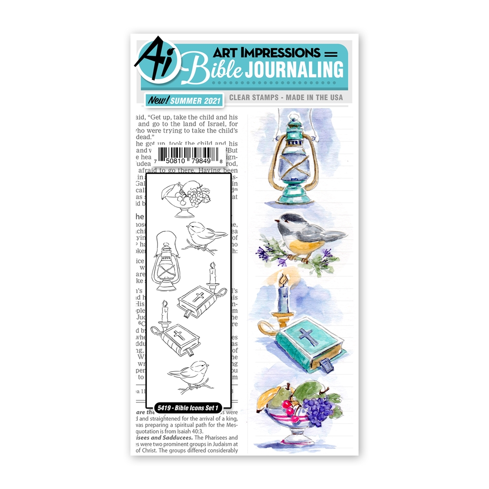 Art Impressions Watercolor BIBLE ICONS SET 1 Journaling Clear Stamps 5419 zoom image