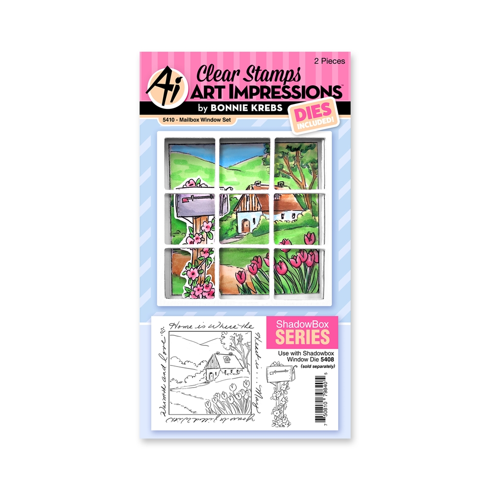 Art Impressions MAILBOX WINDOW SET Clear Stamps and Dies 5410 zoom image