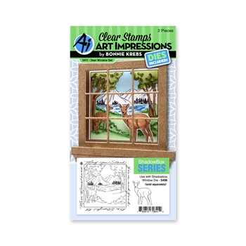 Art Impressions DEER WINDOW SET Clear Stamps and Dies 5411